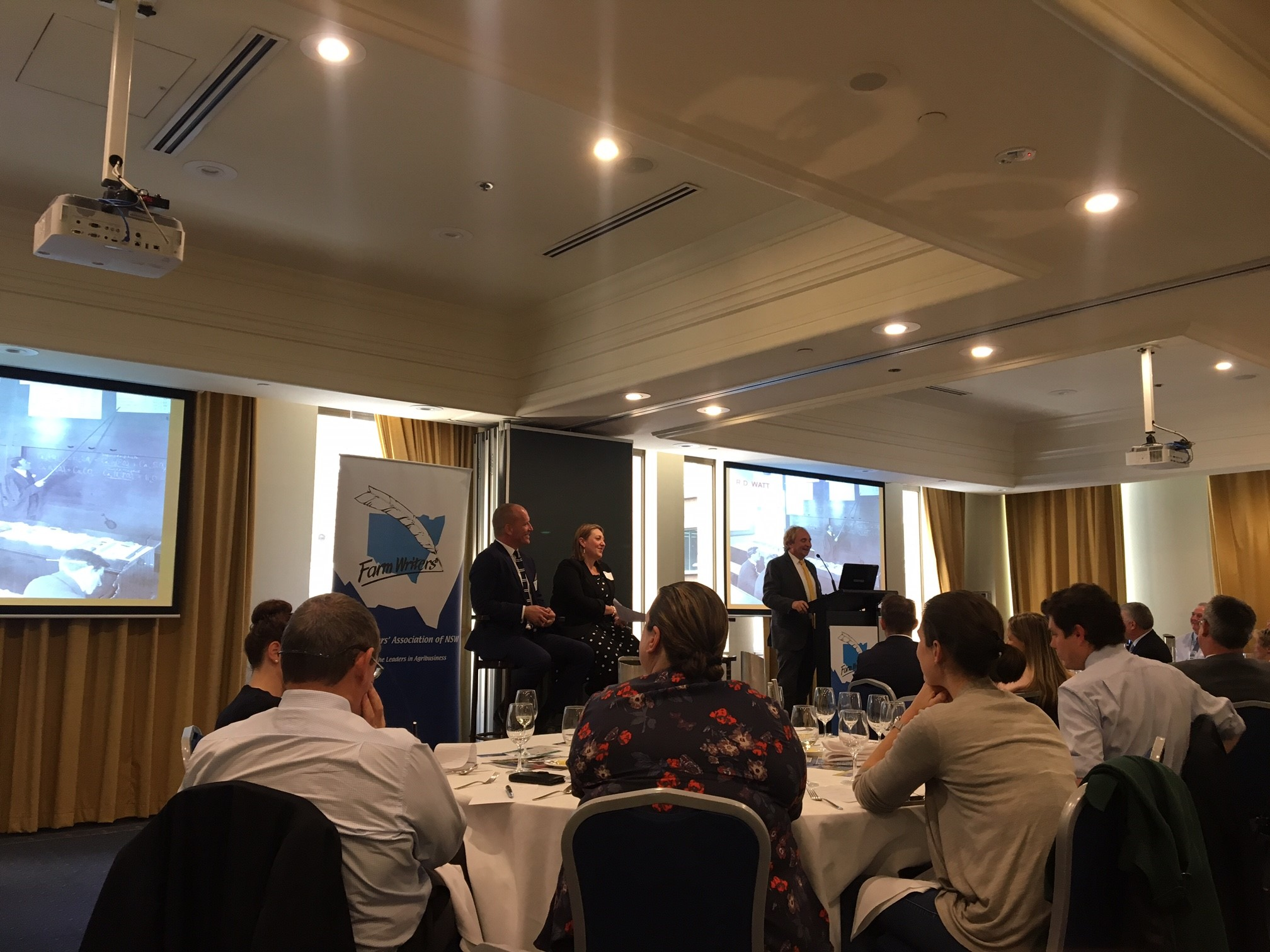 Speakers discussing the topic Incubating talent for Agriculture at the Farm Writers' Association of NSW event last week.